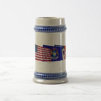 米国、ミシガン州およびデトロイト旗 ビールジョッキ
