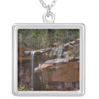 米国、ユタのザイオン国立公園、水滝の シルバープレートネックレス