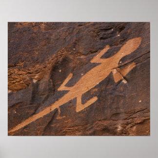 米国、ユタ。 有史以前の岩石彫刻の石の芸術の ポスター