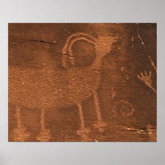 米国、ユタ。 2時の有史以前の岩石彫刻の石の芸術 ポスター