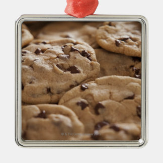 米国、ユタ、Lehiのチョコレートクッキー シルバーカラー正方形オーナメント