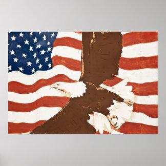 米国、ルイジアナの港アレン。 愛国心が強い壁画 ポスター
