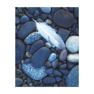 米国、ワシントン州、スネーク川の砂利のバー キャンバスプリント