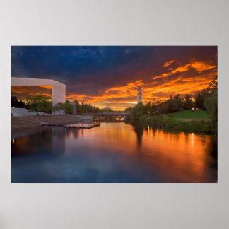 米国、ワシントン州、スポケーンの河岸地域公園 ポスター