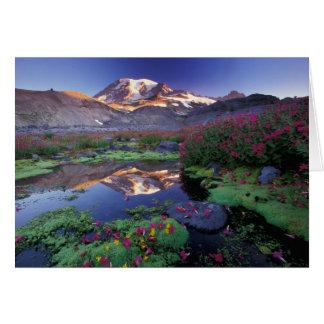 米国、ワシントン州、レーニア山NPの日の出、 カード