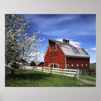 米国、ワシントン州、Ellensburgの納屋 ポスター