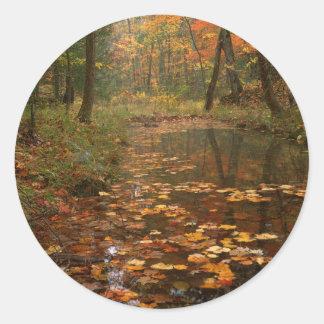 米国、ヴァージニアのDouthatの州立公園の秋 ラウンドシール