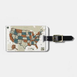 米国-ヴィンテージの地図 ラゲッジタグ