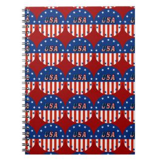 米国-円のノートの米国旗そして星 ノートブック