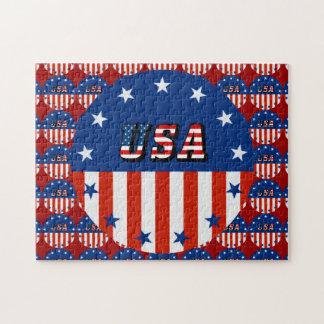 米国-円の米国旗そして星 ジグソーパズル
