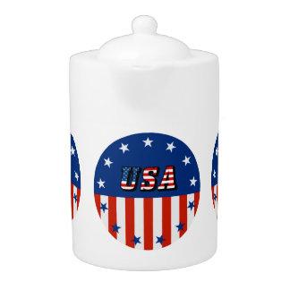 米国-円の茶ポットの米国旗そして星