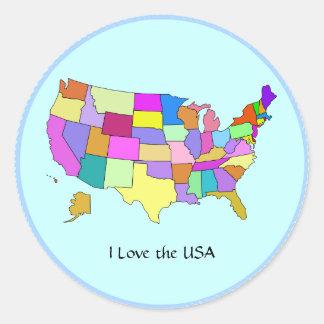 米国: 私は米国、米国を地図を描きます愛します ラウンドシール