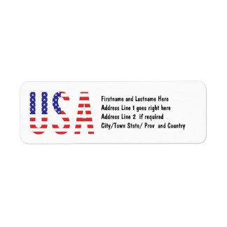 米国-米国の旗の手紙 ラベル