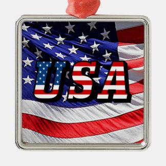 米国-米国旗のスクエア金属のクリスマスのオーナメント メタルオーナメント