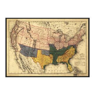 米国(1864年1月)の内戦時代の地図 キャンバスプリント