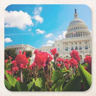 米国、Washington D.C.の国会議事堂の建物 スクエアペーパーコースター
