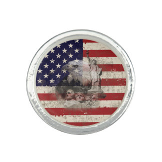 米国ID155の旗そして記号 指輪
