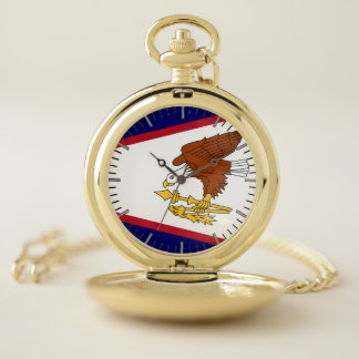 米領サモアの旗が付いている愛国心が強い壊中時計 ポケットウォッチ