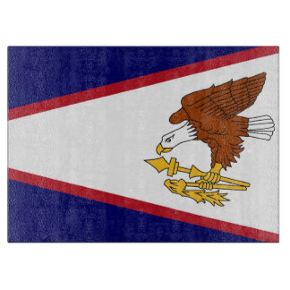 米領サモアの旗を持つガラスまな板 カッティングボード