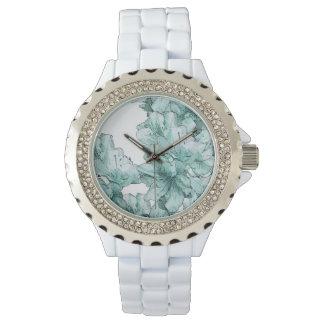 粉および水の図解入りの、写真付きのな花はセットをカスタマイズ 腕時計
