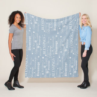 Powdery Blue and White Blessings Fleece Blanket