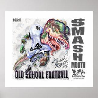 粉砕の口の恐竜のフットボール ポスター