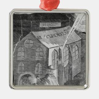 粉1605年が付いているプロット シルバーカラー正方形オーナメント
