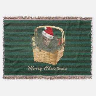 粋でかわいいサンタ猫のクリスマスの休日 スローブランケット