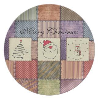 粋でかわいくおもしろいなクリスマスのパッチワークの休日 プレート