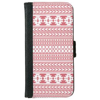 粋でアステカな種族のプリントの幾何学的なパターン(ピンク) iPhone 6/6S ウォレットケース