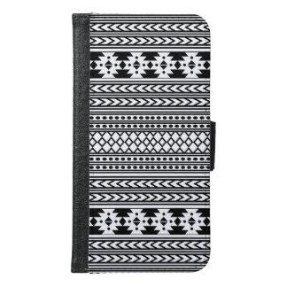 粋でアステカな種族のプリントの幾何学的なパターン(黒) GALAXY S6 ウォレットケース