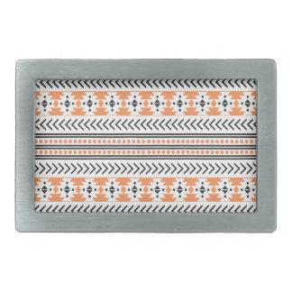 粋でアステカな種族のプリント幾何学的なパターンオレンジ 長方形ベルトバックル