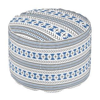 粋でアステカな種族のプリント幾何学的なパターン青 プーフ