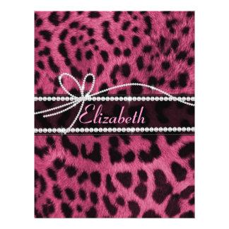 粋でシックでガーリーで模造のなショッキングピンクのヒョウ動物の毛皮 チラシ