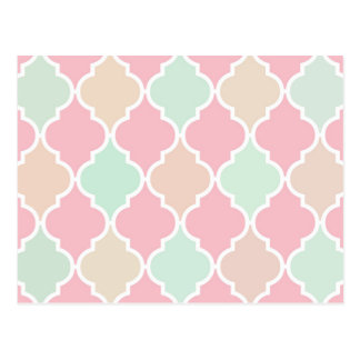 粋でシックでガーリーなピンクの緑のクローバーパターン ポストカード