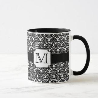 粋でモノグラムのなダマスク織のマグ マグカップ