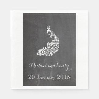 粋でロマンチックなヴィンテージのクジャクの黒板の結婚式 スタンダードランチョンナプキン