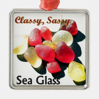 粋で上品な海ガラス-赤および黄色 メタルオーナメント