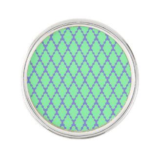 粋で幾何学的なチェック模様のティール(緑がかった色)紫色パターン芸術 ラペルピン