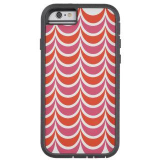 粋で幾何学的なパターンピンクのオレンジ波状は縞で飾ります TOUGH XTREME iPhone 6 ケース