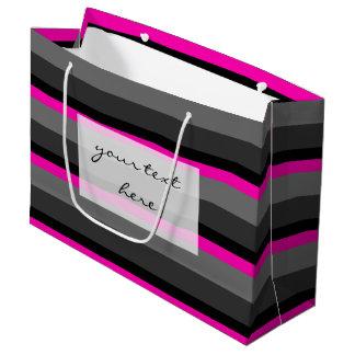 粋で明るいネオンピンクの黒いおよび灰色のストライプの ラージペーパーバッグ