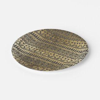 粋で模造のな金ゴールドおよび黒い手描きのアズテック人 ペーパープレート