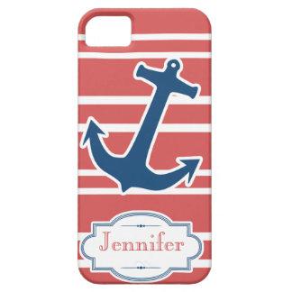 粋で赤くおよび青の航海のないかりのiPhoneの箱 iPhone SE/5/5s ケース