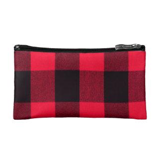 粋で赤くおよび黒く居心地のよいバッファローの格子縞 コスメティックバッグ