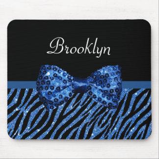 粋で青いシマウマのプリントの名前の模造のな輝きの弓 マウスパッド