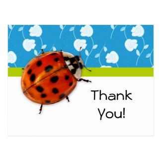 粋で青い花のてんとう虫ありがとう ポストカード