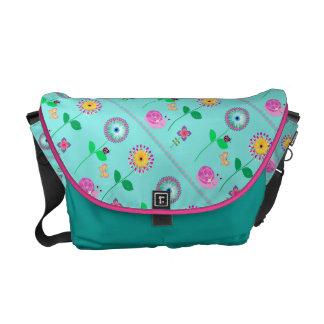 粋で青い花の女性バッグ クーリエバッグ
