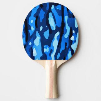 粋で青い迷彩柄の抽象芸術パターン 卓球ラケット