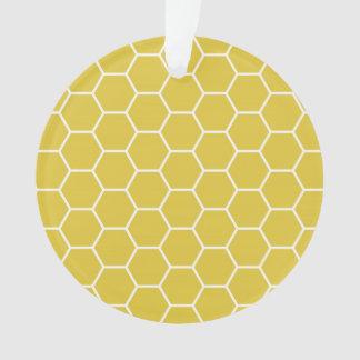 粋で黄色く幾何学的な蜜蜂の巣の六角形パターン オーナメント