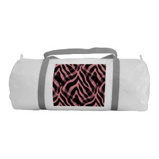 粋ないちごのピンクのシマウマのストライプのプリント ジムバッグ